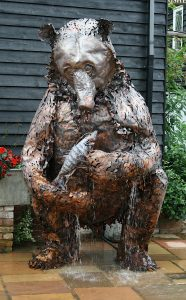 bear and salmon sculpture