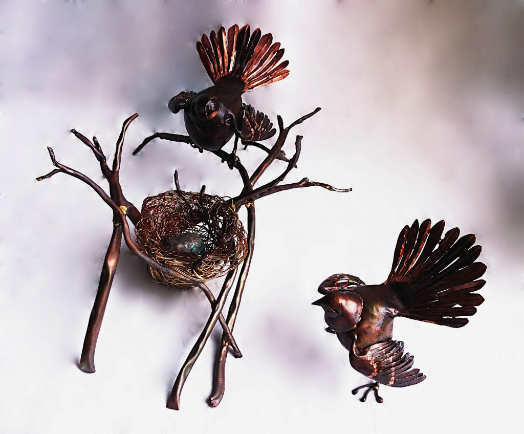 New Zealand fantail sculptures