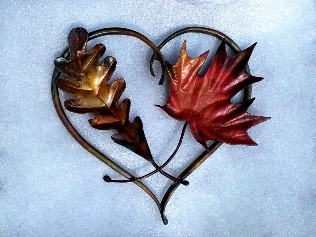 vine heart oak and maple sculpture