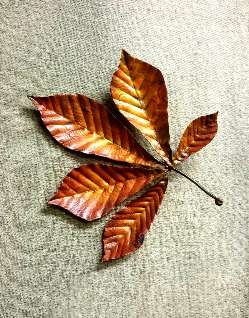 horse chestnut leaf sculpture