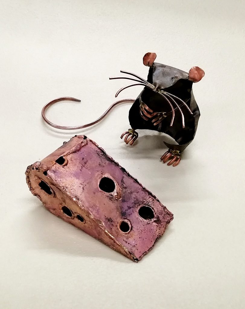 Emily Stone copper mouse and cheese sculpture