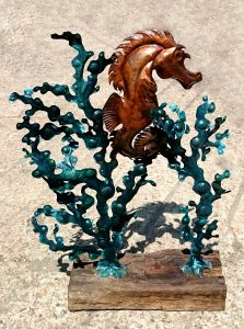 sea-horse and seaweed sculpture