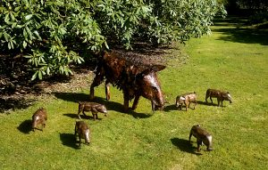 wild boar and piglets sculpture