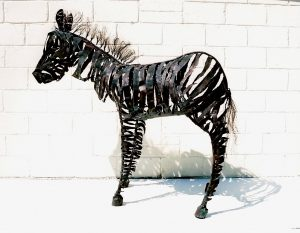 zebra copper sculpture