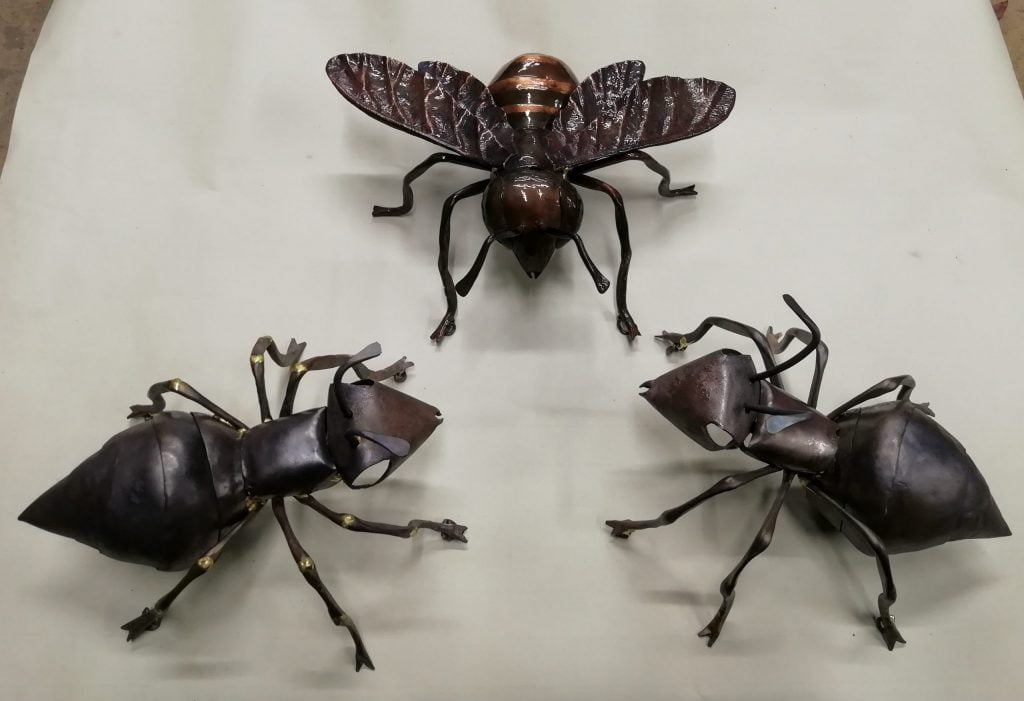 Emily Stone copper bee and ants sculpture