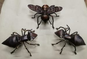 Emily Stone copper bee and ants sculptures