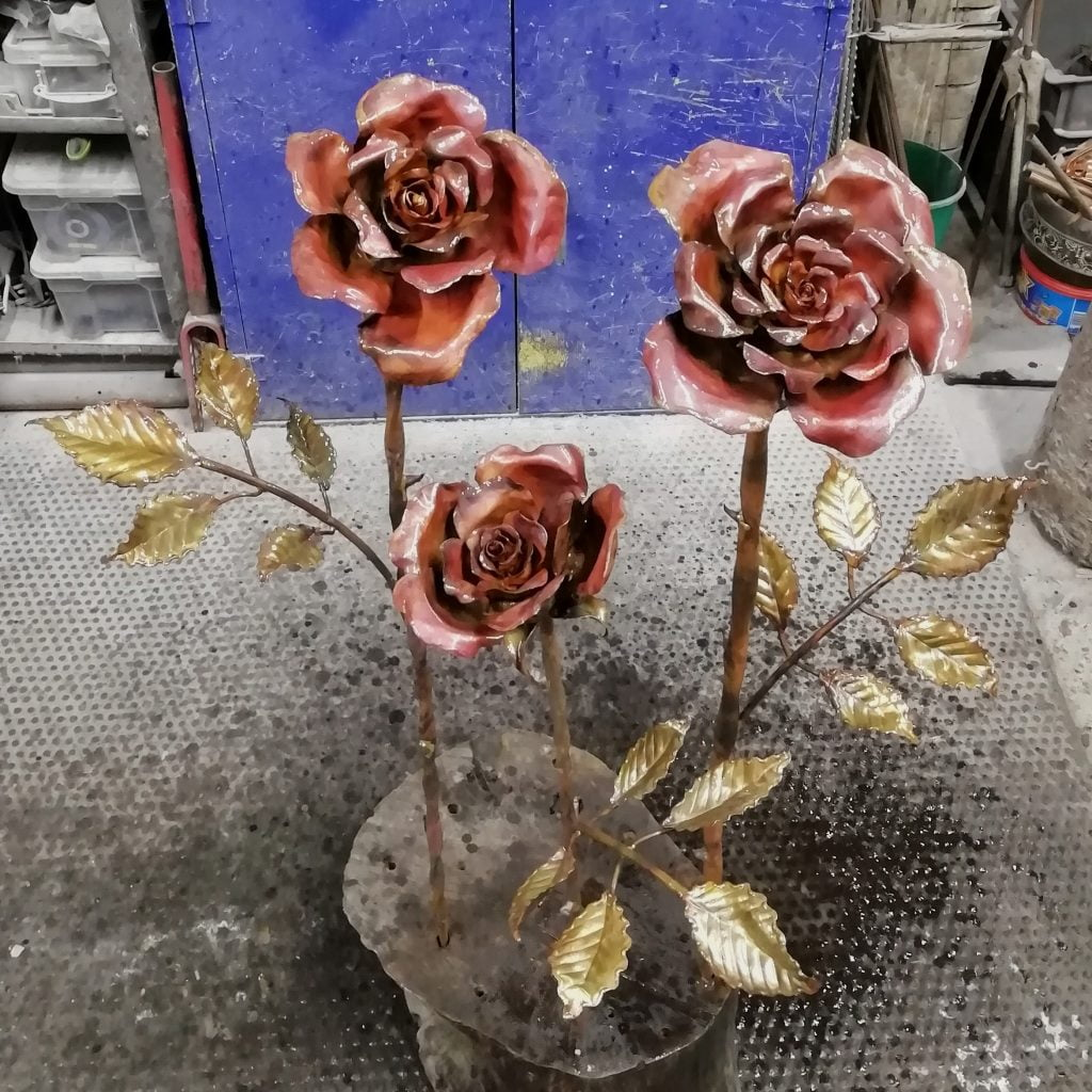 Emily Stone copper roses sculptures