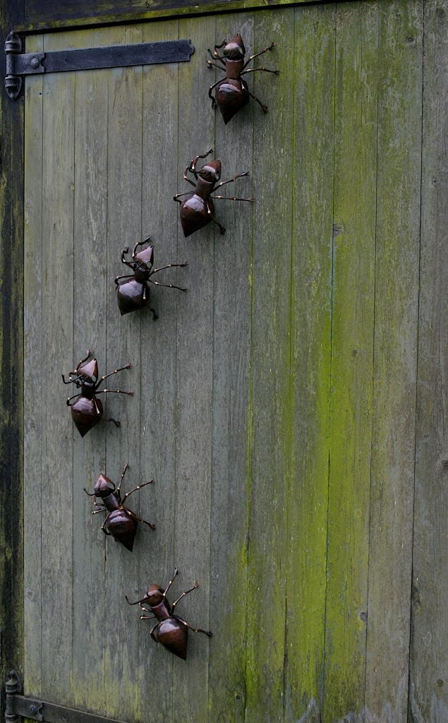 Emily Stone Copper Ant Column Sculpture