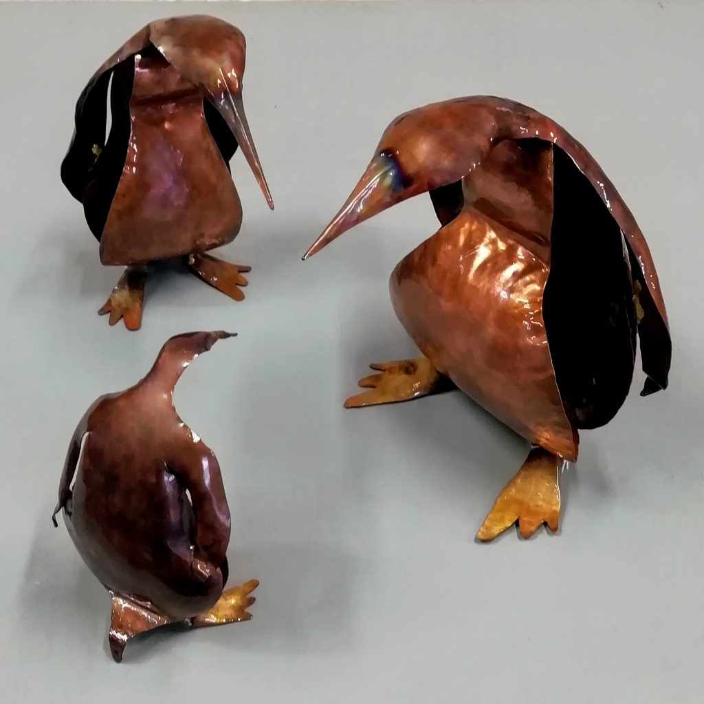 Emily Stone Copper Bird Penguin Sculpture Trio 2