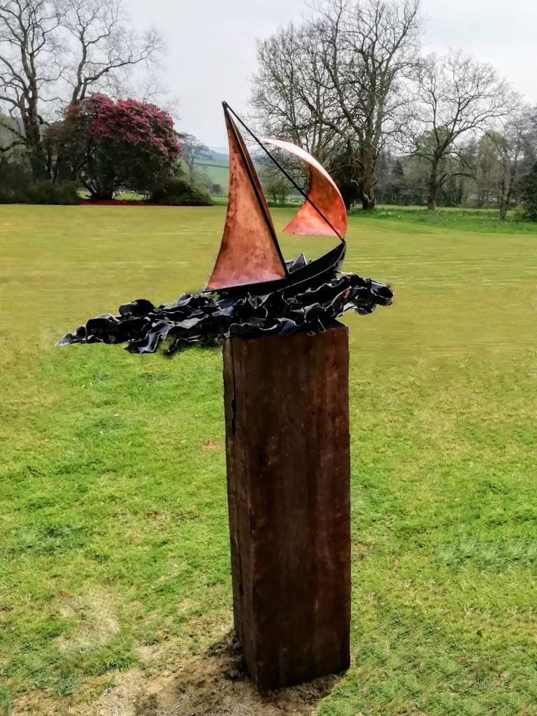 Emily Stone Copper Boat on Wild Sea sculpture 1