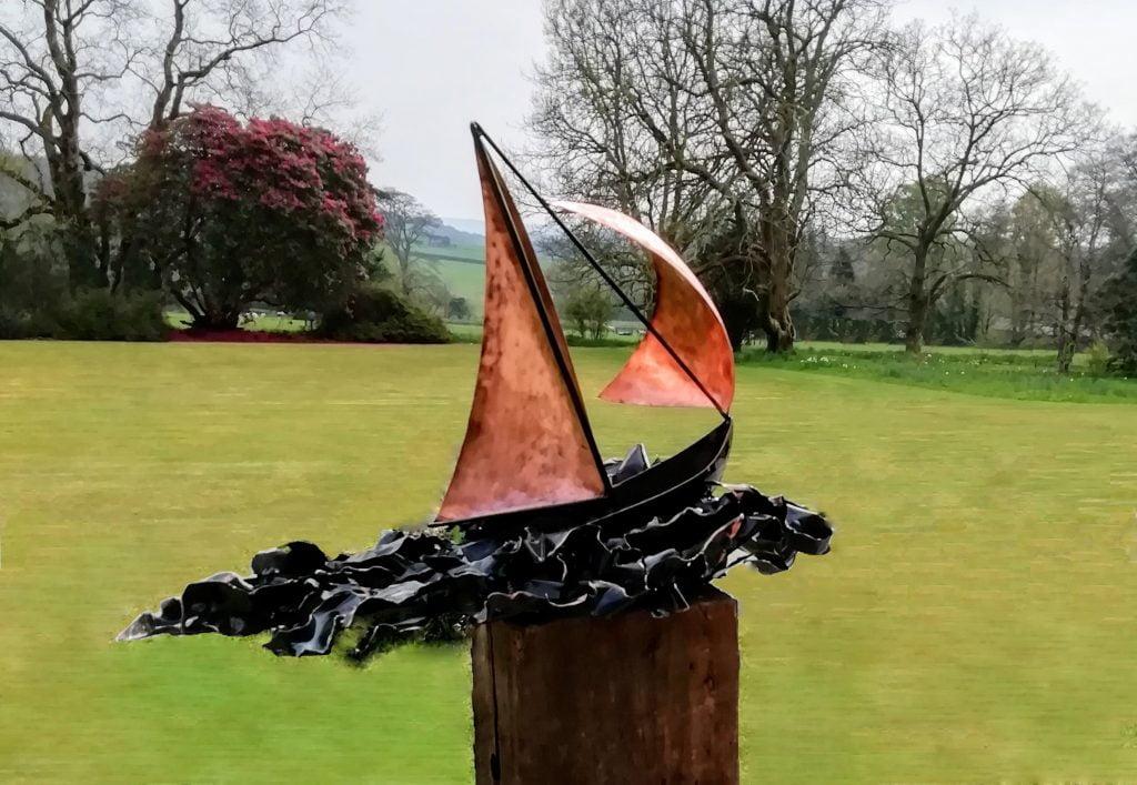 Emily Stone Copper Boat on Wild Sea sculpture