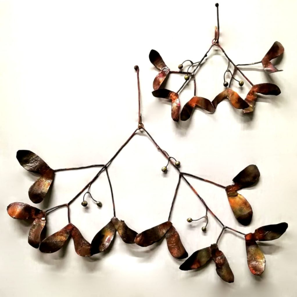 Emily Stone Copper Christmas Mistletoe Sculpture