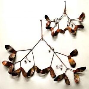 Emily Stone Copper Christmas Mistletoe Sculpture