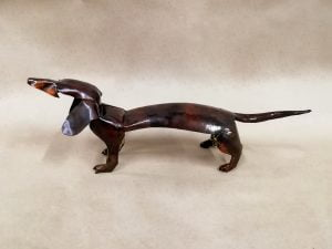 Emily Stone copper dog Dachshund sculpture