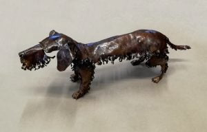 Emily Stone Copper Dog Daschund Wire Haired Sculpture