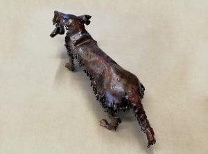 Emily Stone Copper Dog Daschund Wire Haired Sculpture