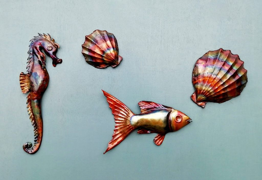Emily Stone Copper Fish Seahorse Clam Shell Sculpture Group