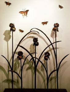 Emily Stone Copper Flower Iris Sculpture Screen