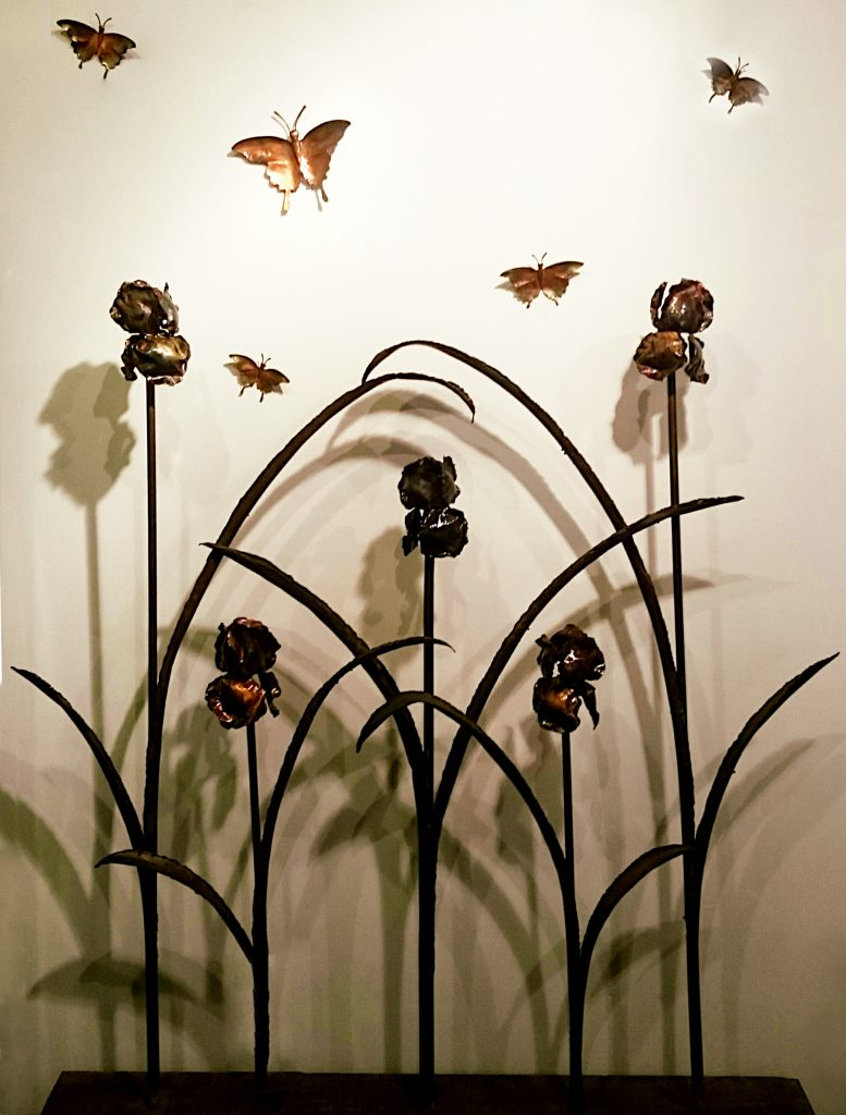Emily Stone Copper Flower Iris Sculpture Screen
