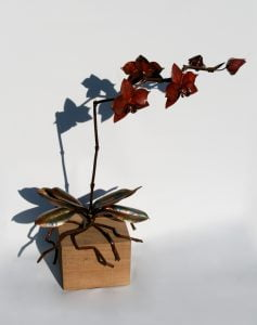 Emily Stone Copper Flower Orchid Phalaenopsis Sculpture