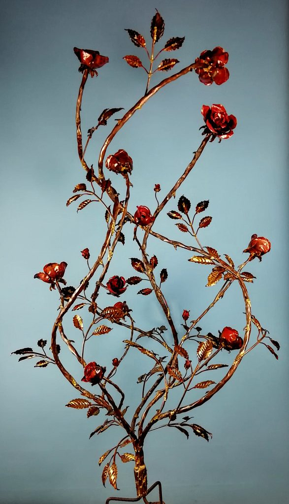 Emily Stone Copper Flower Wild Rose Sculpture
