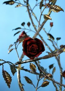 Emily Stone Copper Flower Wild Rose Sculpture