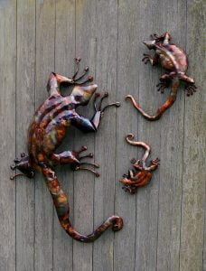 Emily Stone Copper Lizard Sculpture Trio
