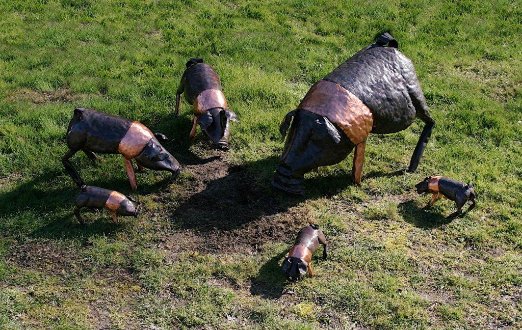Emily Stone Copper Pig Saddleback Sculpture Group