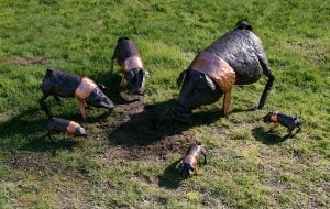 Emily Stone Copper Pig Saddleback Sculpture Group