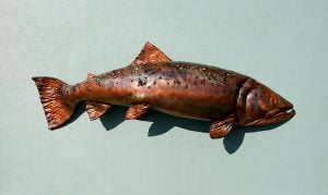 Emily Stone Copper Fish Brown Trout Sculpture