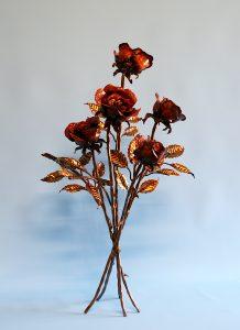 Emily Stone Copper Flower Rose Bouquet Sculpture Five 1