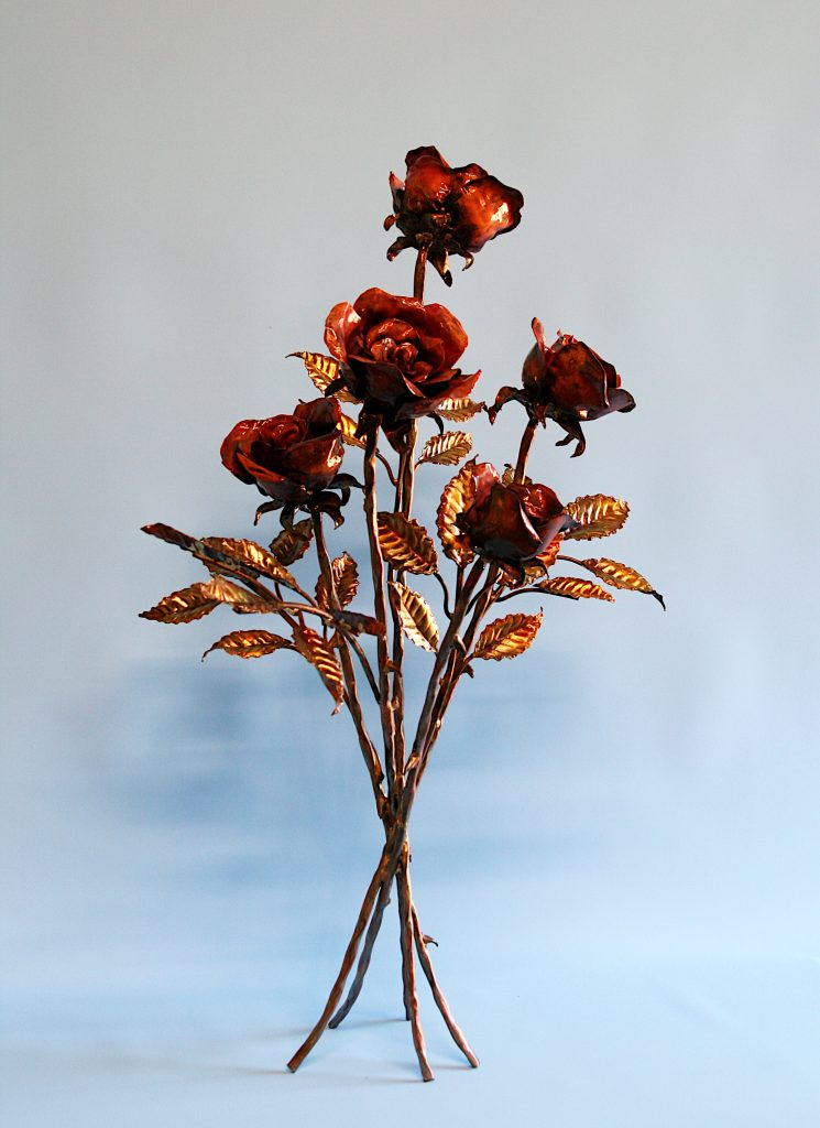 Emily Stone Copper Flower Rose Bouquet Sculpture Five 1