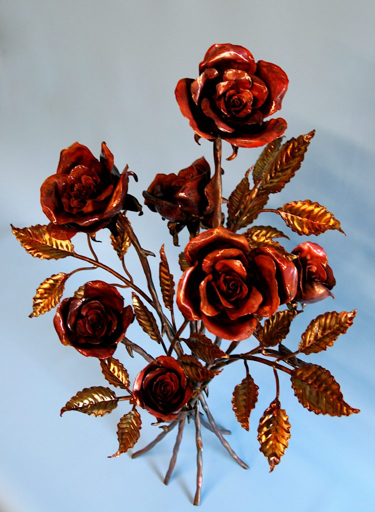 Emily Stone Copper Flower Rose Bouquet Sculpture Seven 2