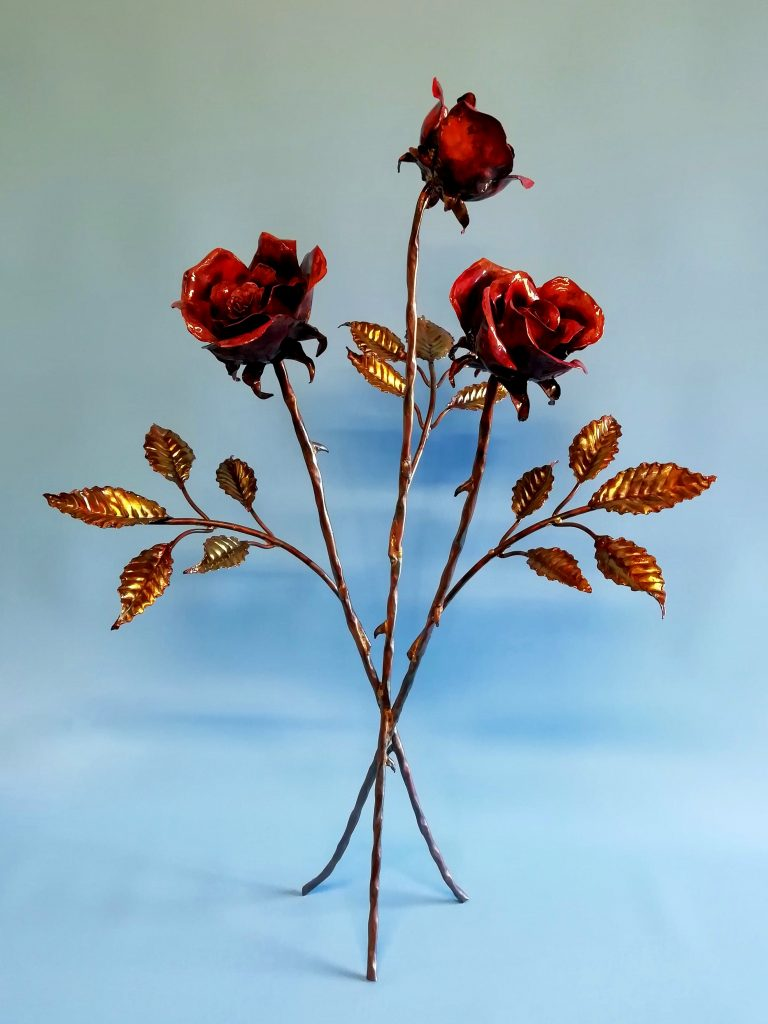 Emily Stone Copper Flower Rose Bouquet Sculpture Three