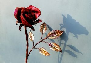 Emily Stone Copper Flower Rose Sculpture Single 8