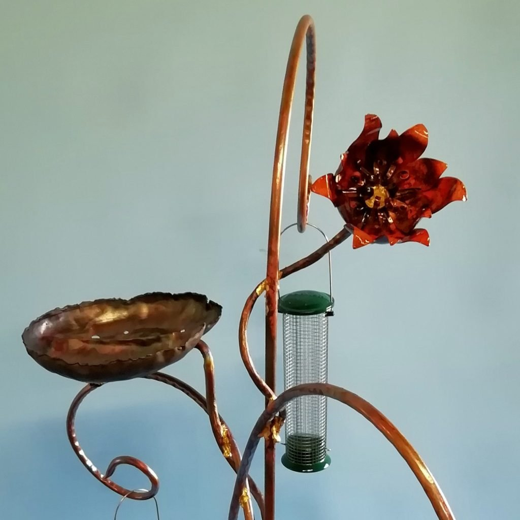 Emily Stone Copper Waterlily Bird Feeder Sculpture Close Up