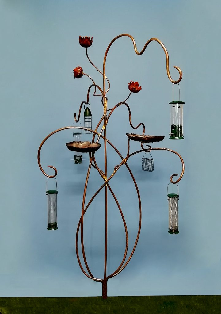 Emily Stone Copper Waterlily Bird Feeder Sculpture Large