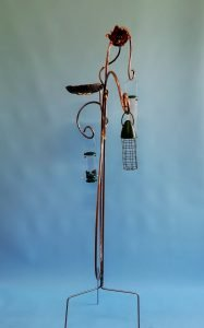Emily Stone Copper Waterlily Bird Feeder Sculpture Small Side view
