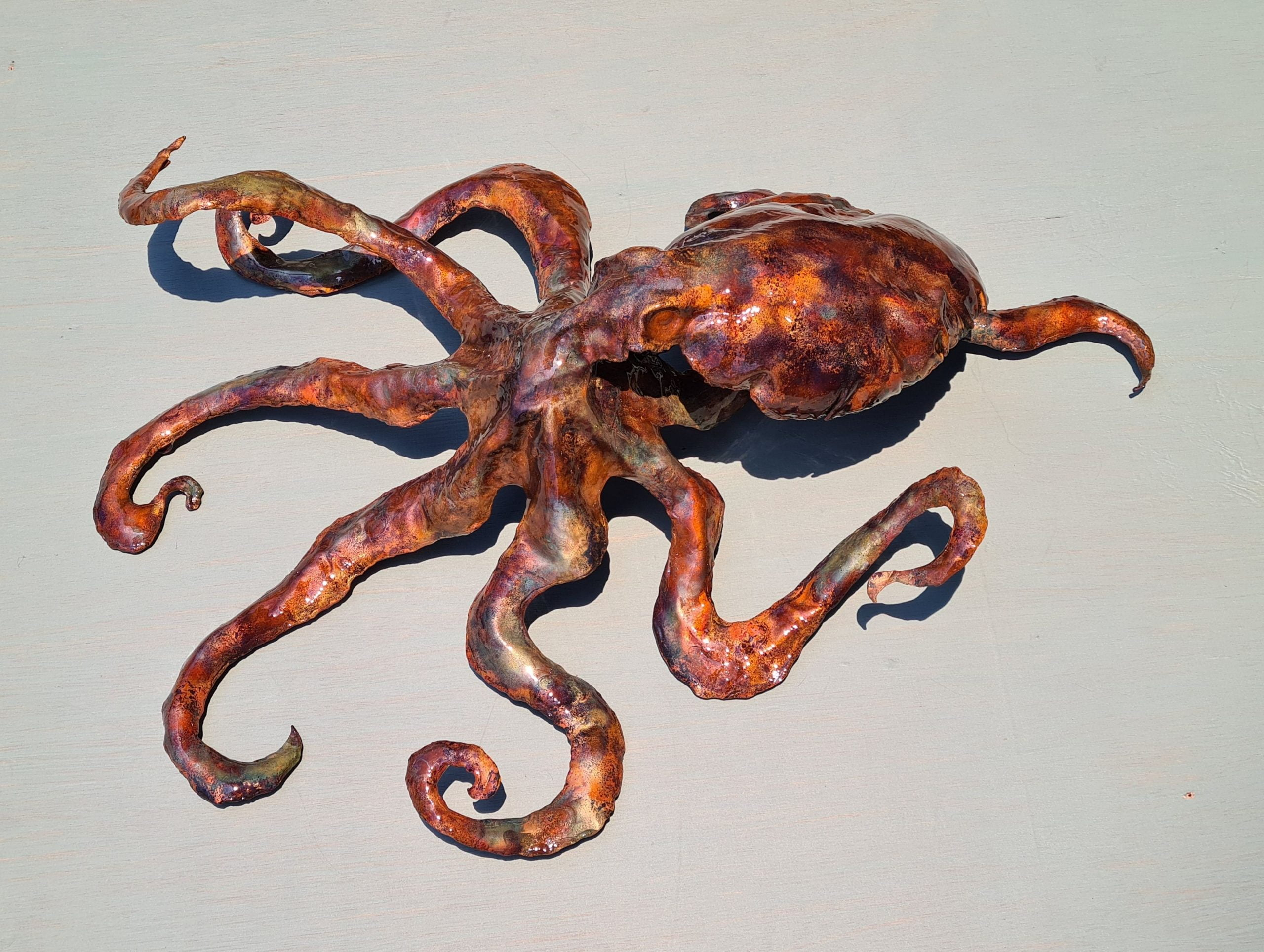 Emily Stone Copper Octopus Sculpture 5 side