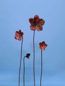 Emily Stone Copper Flower Periwinkle Sculpture sizes