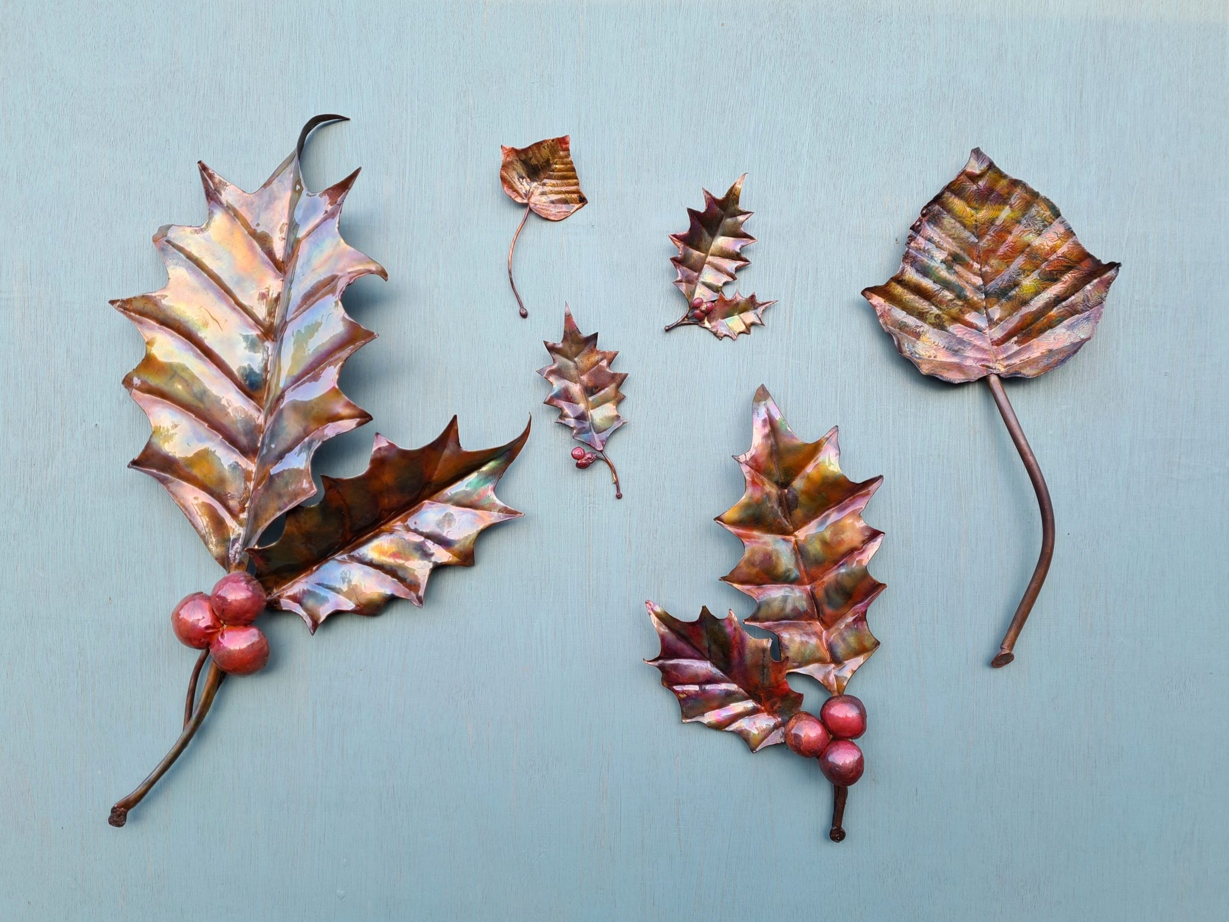 Emily Stone Copper Christmas Holly Ivy Leaf Sculpture