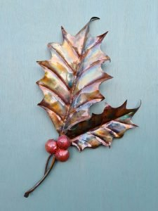 Emily Stone Copper Christmas Holly Leaf Sculpture pair large