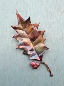 Emily Stone Copper Christmas Holly Leaf Sculpture small