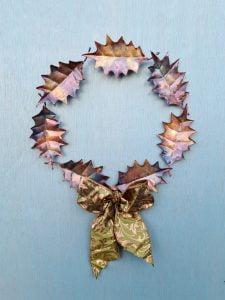 Emily Stone Copper Christmas Holly Wreath Sculpture medium