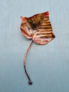 Emily Stone Copper Christmas Ivy Leaf Sculpture small