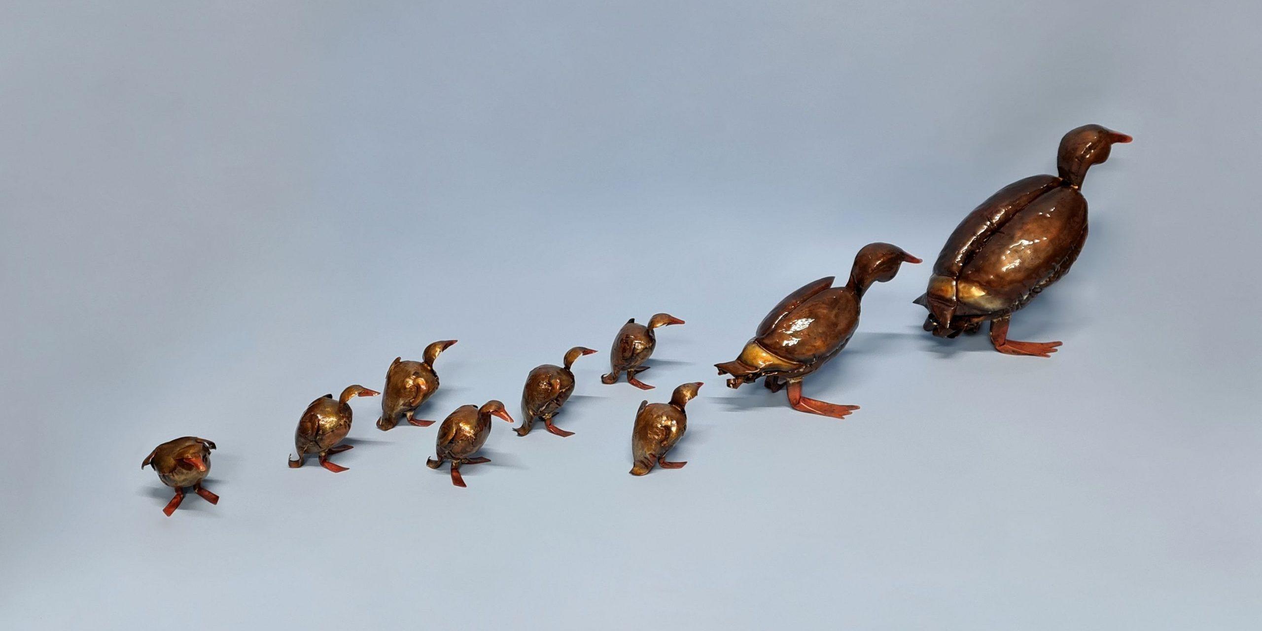 Emily Stone Copper Bird Duck Family Sculpture 1