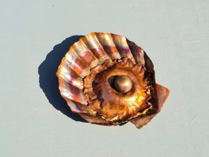 Emily Stone copper clam shell with pearl sculpture