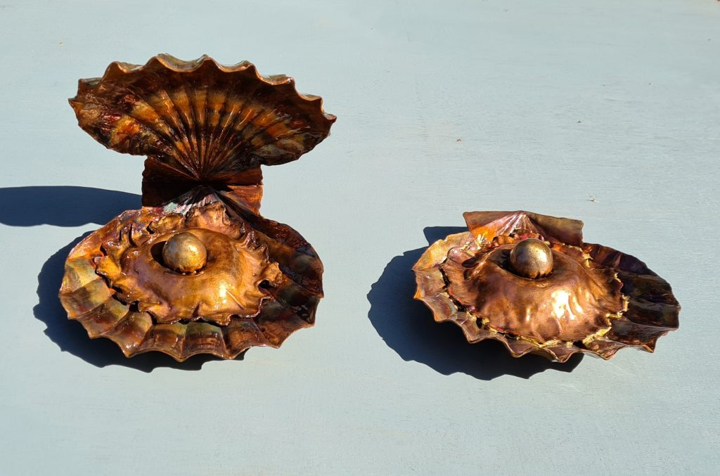 Emily Stone copper clam shells with pearl sculpture both