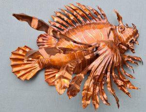 Emily Stone copper fish Lionfish sculpture