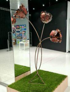 Emily Stone copper flower peony trio sculpture